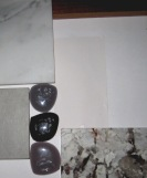Mood Board shows the finish materials for the Master Bath. Granite is Silver Spring, Glass stones