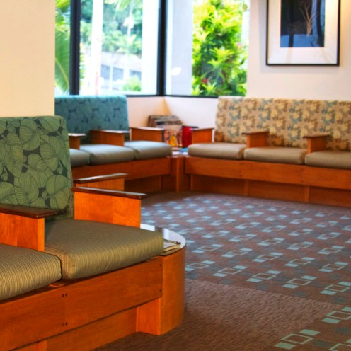 This private healthcare facility was transformed with a redesign to the Main Lobby and office areas with new patterned carpet, new color scheme and new upholstery. Carpet by Masland Carpets, Upholstery fabric by Samelson Chatelane, NY